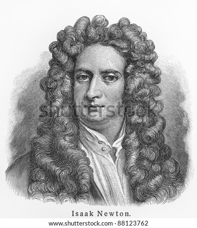 Isaac Newton - Picture from Meyers Lexicon books written in German language. Collection of 21 volumes published  between 1905 and 1909. - stock photo
