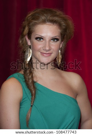 Isabel Hodgins arriving for the 2012 British Soap Awards , LWT Southbank, London. 28/04/2012 Picture by: Simon Burchell / Featureflash