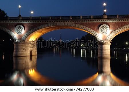 isabella bridge turin italy - stock photo