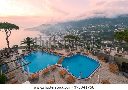 ISCHIA, ITALY - June 28, 2015: Beautiful view from a luxury hotel San Montano on the island of Ischia in the early morning - stock photo