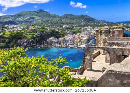 Ischia -view from Arafgonese castle. Italy - stock photo