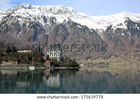 Iseltwald on Lake Brienz. Bernese Oberland. Switzerland - stock photo
