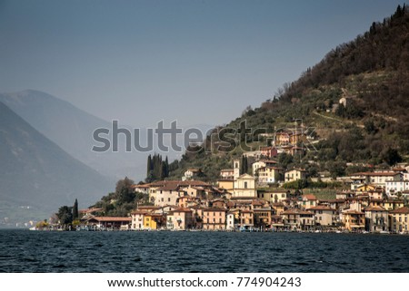 Iseo city and lake Iseo, Brescia province, Lombardy district, Italy