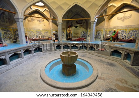 ISFAHAN, IRAN  OCTOBER 15: Hammam-e Ali Gholi Agha on October 15, 2013 in Isfahan, Iran. Hammam-e Ali Gholi Agha was bath houses that was build in eighteenth century. - stock photo