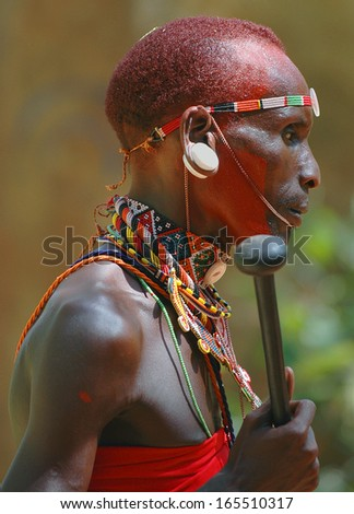ISIOLO, KENYA - FEBRUARY 18: Unidentified Samburu man on February 18, 2005 in Isiolo, Kenya.