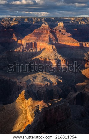 Isis Temple seen from Hopi Point on the South Rim in Grand Canyon National Park, Arizona - stock photo