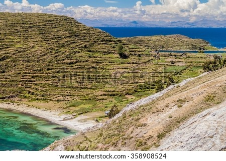 Isla del Sol in Titicaca lake, Bolivia - stock photo