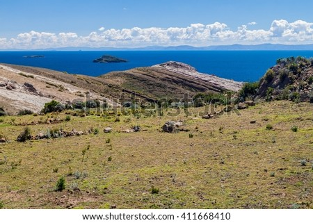 Isla del Sol (Island of the Sun) in Titicaca lake, Bolivia - stock photo