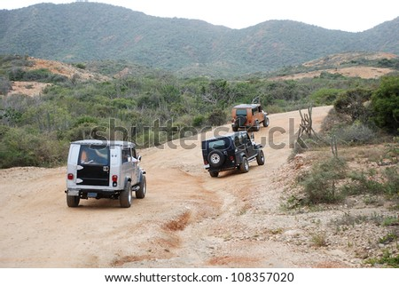 ISLA MARGARITA, VENEZUELA-FEBRUARY 9 Jeep tour on Feb 9, 2008 Isla Margarita.The 1st Willys MB Jeeps were produced in 1941 with the first civilian models in 1945, making it the oldest off-road vehicle - stock photo