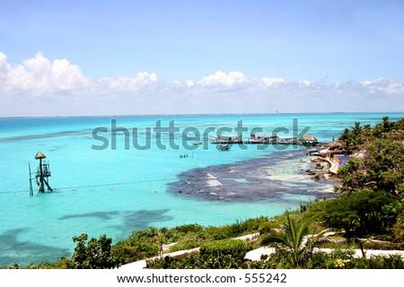 Isla Mujeres off the Yucatan coast in Mexico - stock photo