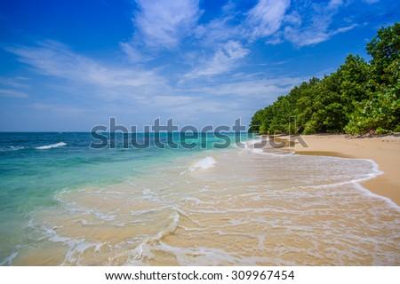 Isla Zapatilla  pristine beach at Bocas del Toro Province in Panama - stock photo
