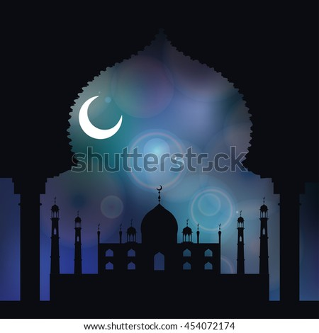 Islam,arabic,muslim background.Mosque with minaret .Blue blurred backdrop.Vintage Celebration card for Ramadan Kareem, holiday template. Illustration.Mosque black silhouette.Night