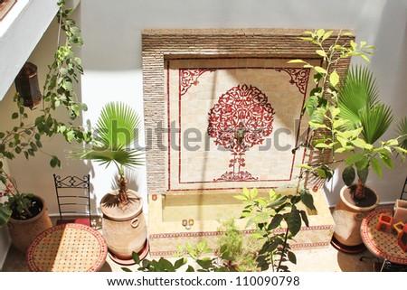 Islamic arabian indoor architecture - stock photo