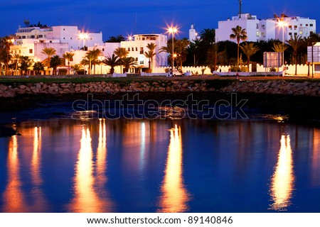 Islamic architecture by night Asilah old medina, Morocco, Africa