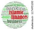 Islamic Finance info-text graphic concept (word cloud) - stock photo