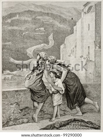 Islamic girl cheering Hajjis return (La Mecca pilgrims). Created by Garnier after painting of Hirsch, published on Magasin Pittoresque, Paris, 1882. - stock photo