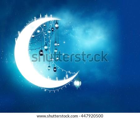 Islamic greeting  Eid Mubarak cards for Muslim Holidays.Eid-Ul-Adha festival celebration . Ramadan Kareem background.Crescent Moon and Lanterns Lightnings in sky - stock photo