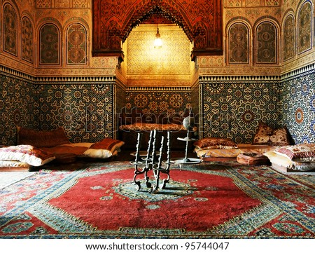 Islamic interior architectural details - stock photo