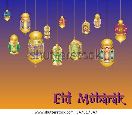 islamic muslim holiday blessing background or greeting card, with oriental lamps and lanterns