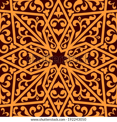 Islamic or arabic seamless pattern with elements of ornament. Vector version also available in gallery - stock photo
