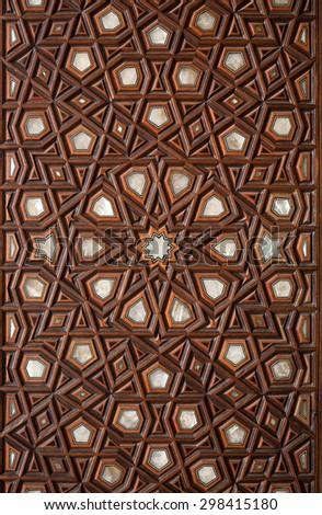 islamic pattern wooden engraving - stock photo