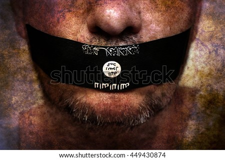Islamic state censorship grunge concept