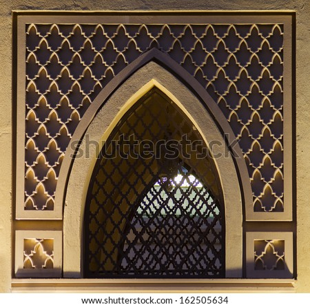 Islamic traditional pattern window frame. - stock photo