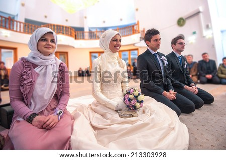 Islamic wedding ceremony at mosque - stock photo