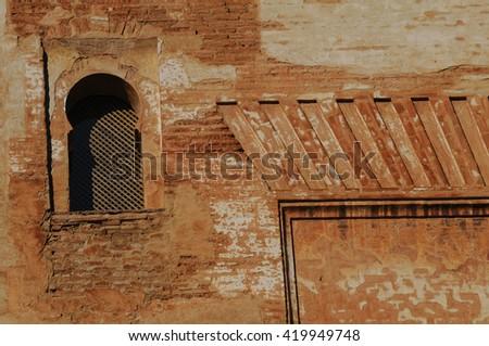 Islamic window in Alhambra of Granada - stock photo