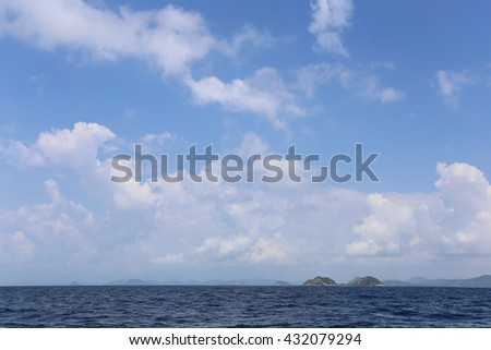 Island and blue sky on a fine weather Tourist attractions in Thailand.