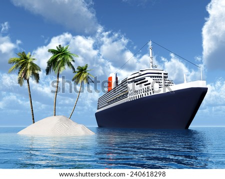 Island and Cruise Ship Computer generated 3D illustration - stock photo