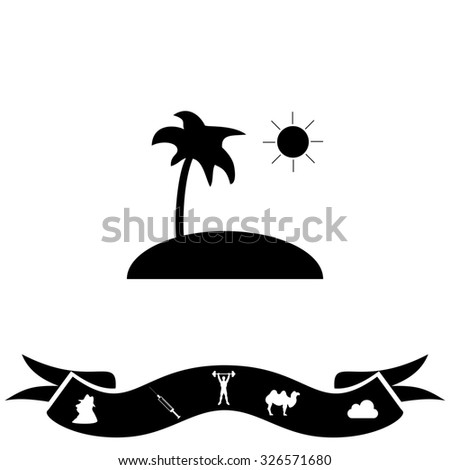 Island and palm. Black flat icon and bonus pictogram with ribbon. Illustration symbol on white background