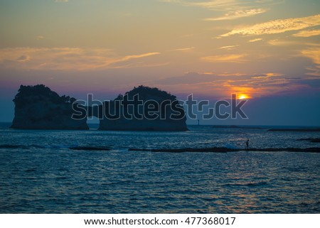 island and sunset