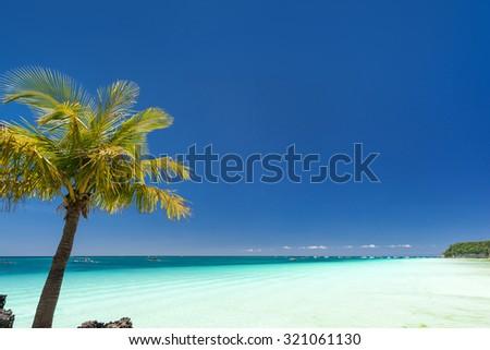 Island Boracay, Philippines. Boat Station One, White beach place  - stock photo