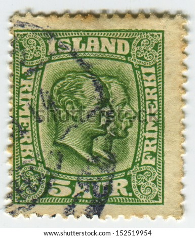 ISLAND - CIRCA 1907:A stamp printed in Island shows image of the Christian IX  was King of Denmark and Frederick VIII (Christian Frederik Vilhelm Carl) was King of the Kingdom of Denmark, circa 1907.  - stock photo