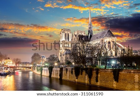 Island Cite with cathedral Notre Dame de Paris  - stock photo