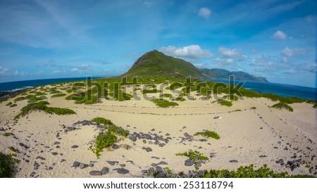 Island corner land Oahu hawaii, beach park Kaena point. Ocean, mountain.     - stock photo