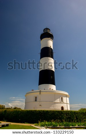 Island D'Oleron in the French Charente with striped lighthouse
