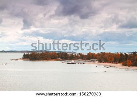 Island Helsinki in autumn - stock photo
