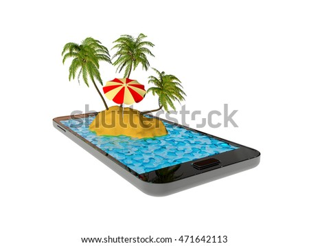 Island in cellphone. 3D illustration