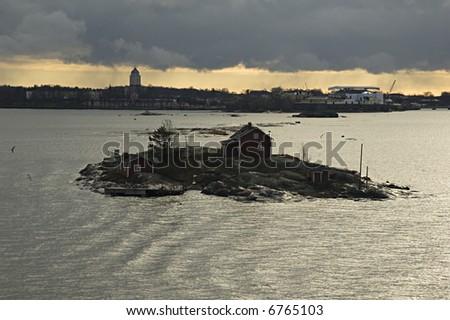 Island in harbour of Helsinki - stock photo