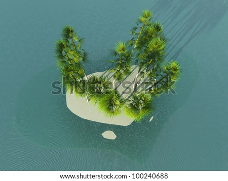 Island in heart form - stock photo