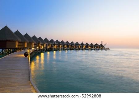 Island in ocean, Maldives - stock photo
