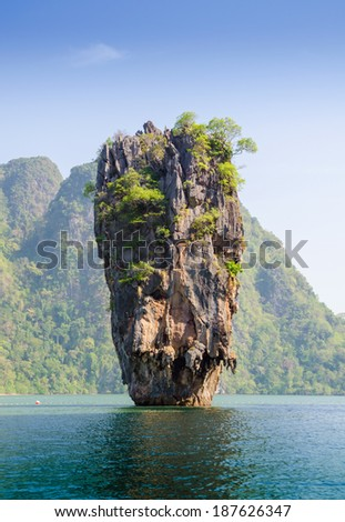 Island in Phuket, Thailand . James Bond island geology rock formation