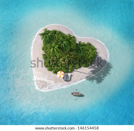 Island in the form of heart - stock photo
