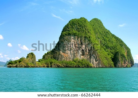 Island in the middle of the sea in Thailand - stock photo