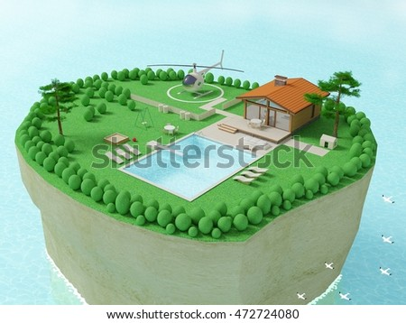 Island in the ocean. 3d illustration of a cottage or mini-hotel on an island in the sea or ocean with rocks, waves and swimming pool