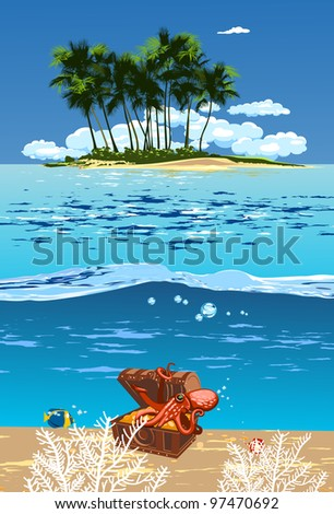 island in the open sea and the treasure chest with an octopus on it