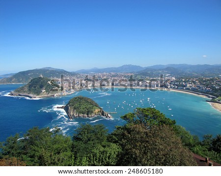 Island in the sea, a gulf and harbor - stock photo