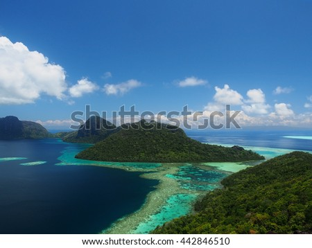 Island of Bohey Dulang in Sabah from hill top - stock photo
